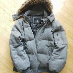 Express Men's M/L Down Gray Hooded Puffer Jacket